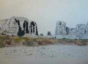 dessin paysages paysage americain montagne desert : monument valley