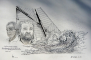 dessin personnages eric tabarly navigateur mer irlande : Eric Tabarly