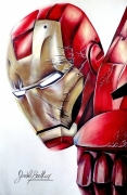 dessin personnages iron man avengers comics marvel : Dessin iron man au crayons de couleurs