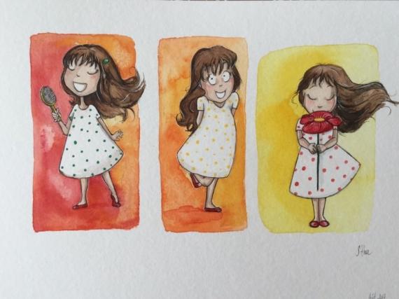 Dessin Petite Fille Aquarelle Trio Coloré 1 2 3