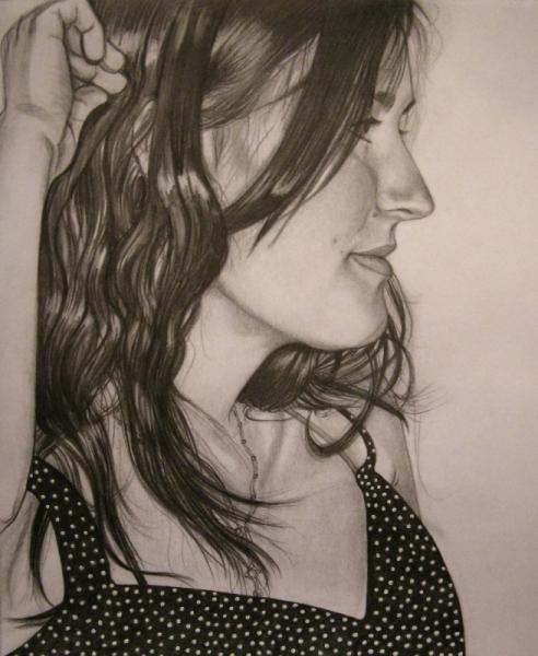 Dessin Portrait Crayon Femme Profil Portrait De Profil De Marion