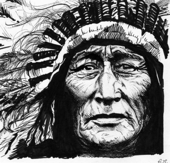 Dessin Portrait Encre De Chine Chef Indien Amérique