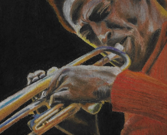 DESSIN Trompette Jazz Musicien Personnages Pastel  - All that jazz