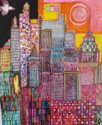 dessin villes new york rose jaune buildings : New York