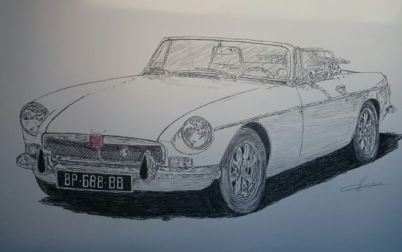 DESSIN VOITURE auto mg Crayon  - MG