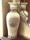 Large vase with beautiful Pearl and glass decoration 60 cm tall Floor Sitter