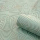 Art Deco Style Duck Egg Blue Gold Wallpaper Belgravia Eternal Memento 9004