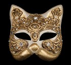 Masque De Venise Gatto Macramé Chat Dore Authentique en Papier Mâché  2064-V35e