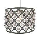 Easy Fit Drum Style Ceiling Light Shade Pendant Acrylic Crystal Chandelier Bijou
