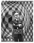 VICTOR VASARELY Tableau Art Optique Balla DEMETER Autographe Photo 1970s