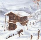 Lot 2 Serviettes en papier Noël Paysage Chalet neige Decoupage Collage Decopatch