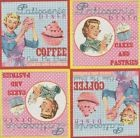 Lot de 4 Serviettes papier Pâtisserie Vintage pour Decoupage Collage Decopatch