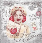 Lot de 4 Serviettes en papier Lettre de Noël Vintage Decoupage Collage Decopatch