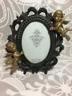 CADRE PHOTO ANGELUS OVALE NOIR BAROQUE ROCAILLE ANGES ANGELOTS DECO SHABBY 10X15