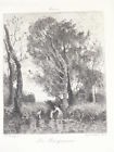 COROT Les Baigneuses GRAVURE Charles Courtry EAU FORTE Tableau Salmon 1878
