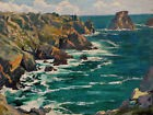 MARCEL GOUPY TABLEAU PAYSAGE BRETAGNE COTE ROCHEUSE MARINE MER HUILE ROCHERS ART