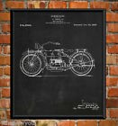 Old Harley Davidson Motorcycle Chalkboard Wall Art Poster Patent Print Gift Idea