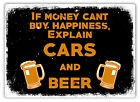 Cars And Beer -Metal Wall Sign Plaque Art- Petrol Head Lager Race Drift Rally