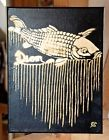 "Tableau ""Carpe Diem"" de eR (street art brut outsider Zeus Banksy gold fish or)"