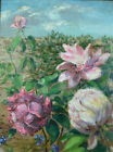 Tableau ancien Nature Morte Roses sauvage paysage Still life Rose flower HST