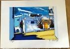 J.C.Quilici, Lithographie originale s/n, Sidi Bou Said Tunisie, paysages Maghreb
