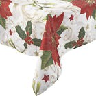 De Fête Holly & Poinsettia Nappe de Noël 100% Polyester Maison Table Lin