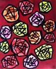 ROSES TABLEAU pop street ART abstrait paint canvas signed hayvon fleurs bouquet