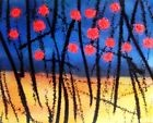 fleurs rouges TABLEAU pop street ART abstrait paint canvas signed french hayvon