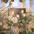Paul Mathenia: Golden Rose tableau prêt 30x30 mural floraison Fleurs collage