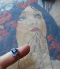 Belle bague ancienne Art Deco vintage saphir brillants