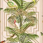 HOLDEN CONGO GEOMETRIC METALLIC WALLPAPER ART DECO TROPICAL ANIMALS PALM LEAVES