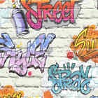 DUTCH WALLCOVERINGS Papier Peint Graffiti Multicolore Revêtement Mural Décor