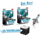 Philips H4 Lampen X-treme Vision +130% 2St. XTREME + OSRAM Cuby LED Taschenlampe