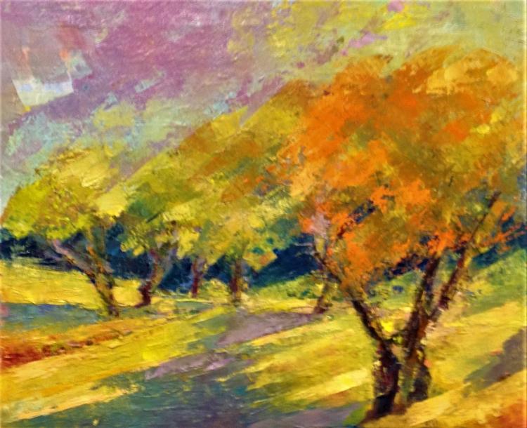 TABLEAU PEINTURE arbres prairie nature soleil calme - les arbres