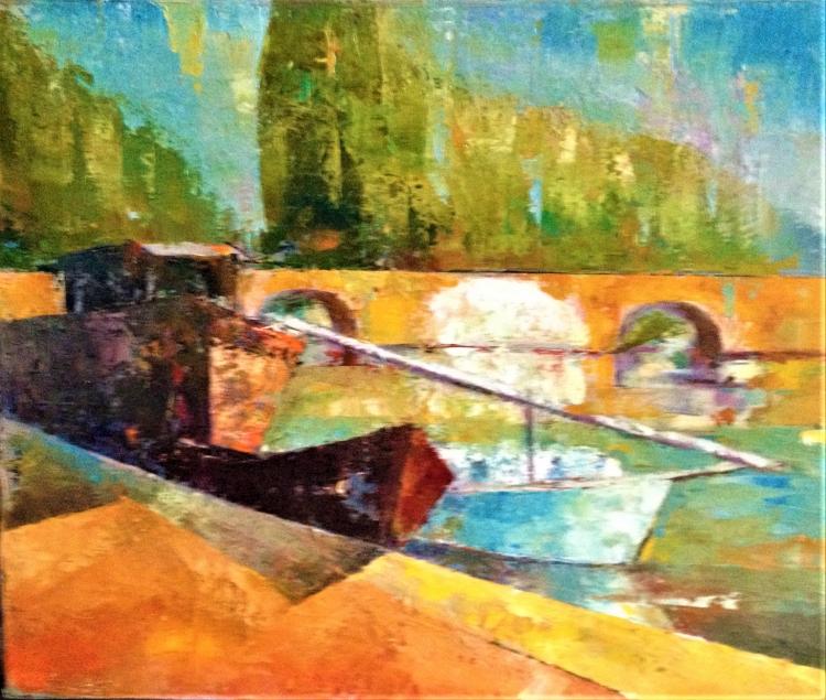 TABLEAU PEINTURE pont peniche eau marine couleurs - les ponts jumeaux