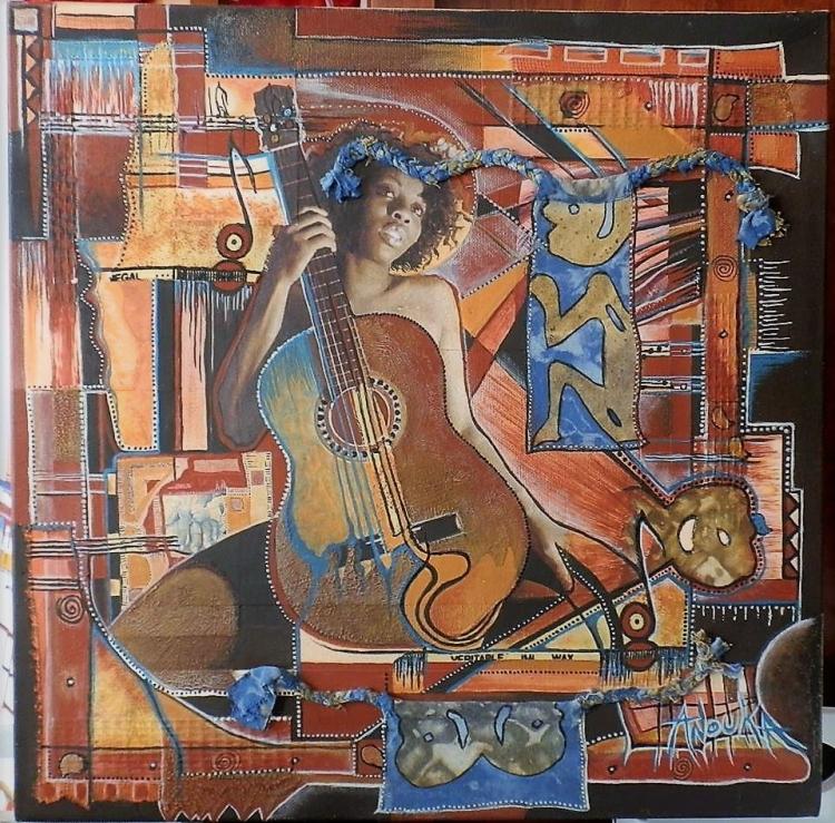 """TABLEAU PEINTURE guitare afro collage matières - """"Massogonaà la guitare"""""""