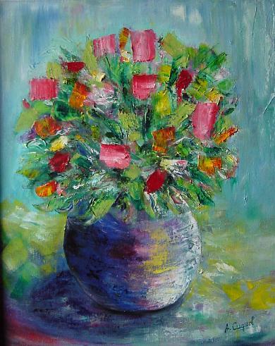 Tableau Peinture Art Fleurs Bouquet Moderne Pot Fleurs Peinture A L