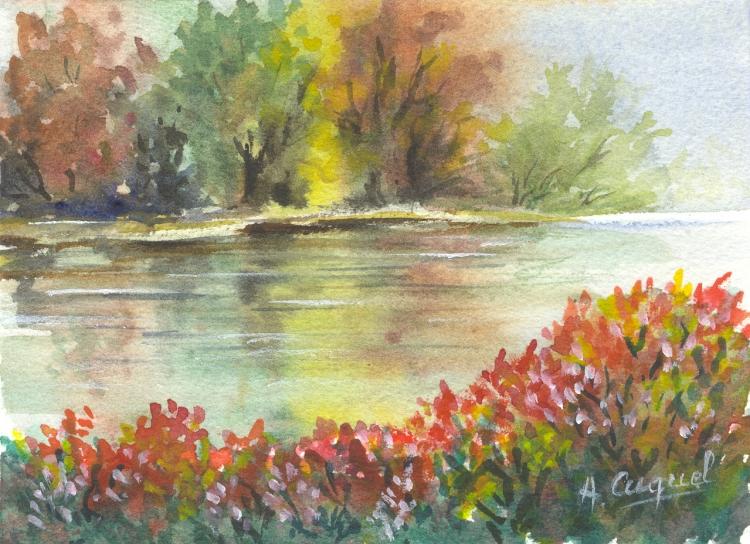 TABLEAU PEINTURE nature eau arbres detente - La rivière 3