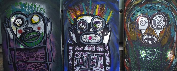 TABLEAU PEINTURE street tags graffiti coulure - triptik