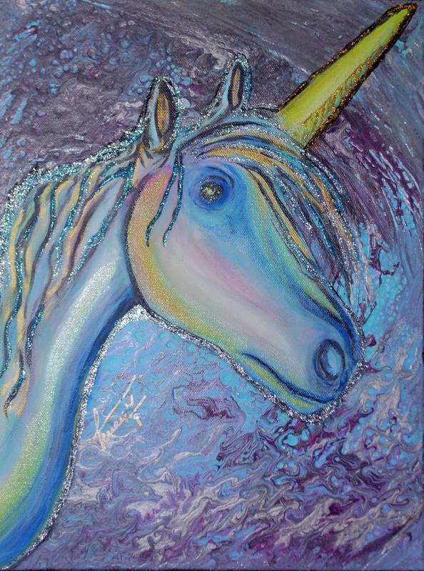 TABLEAU PEINTURE licorne pouring fantaisie fantazy - L'œil de la licorne