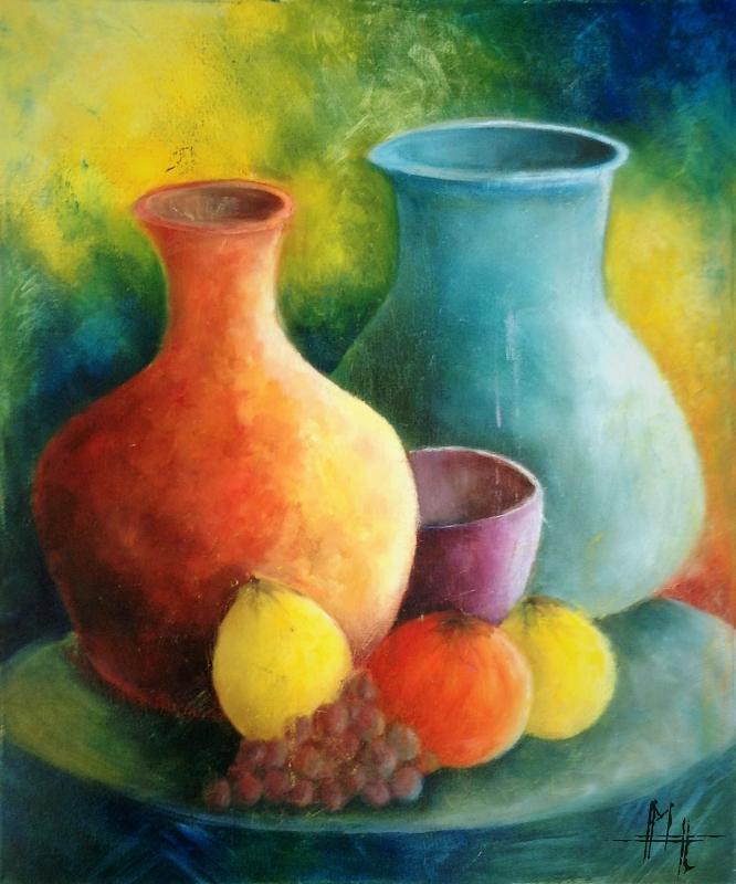 TABLEAU PEINTURE pot vases naturemorte couleur - Les pots