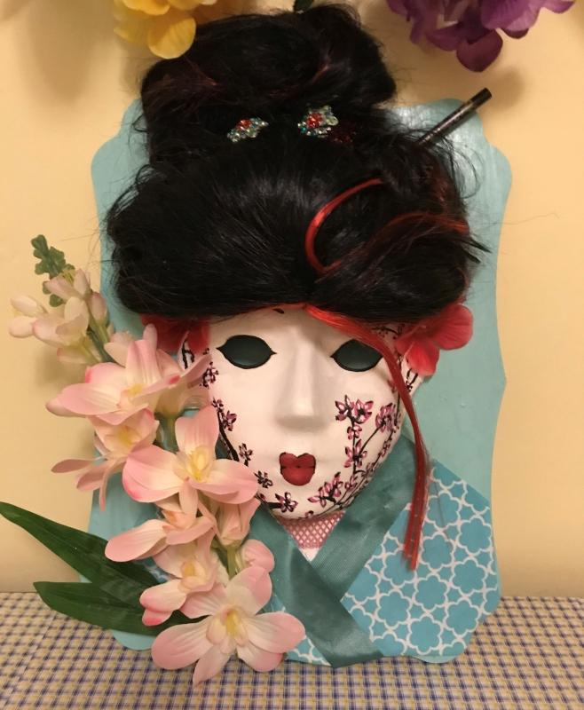 ARTISANAT D'ART masque geisha masque japon masque culturel masque decoratif - masque geisha