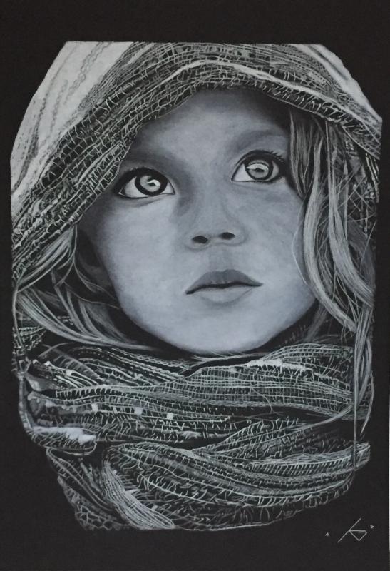 Dessin Fillette Portrait Noir Et Blanc Enfant Personnages