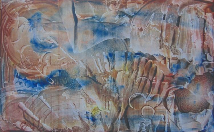 TABLEAU PEINTURE abstrait huile bois signée - b32