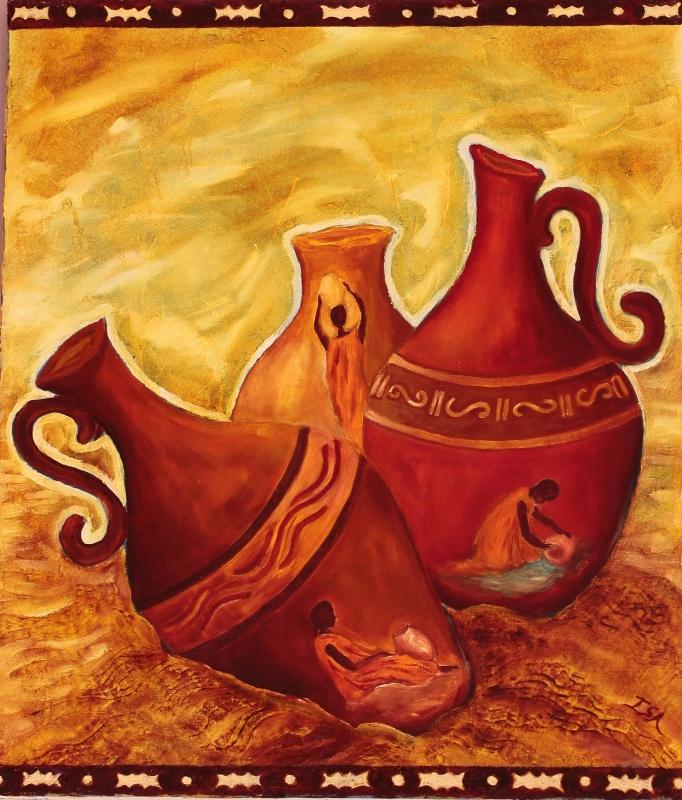 TABLEAU PEINTURE vases ocres Afrique eau - Trois vases