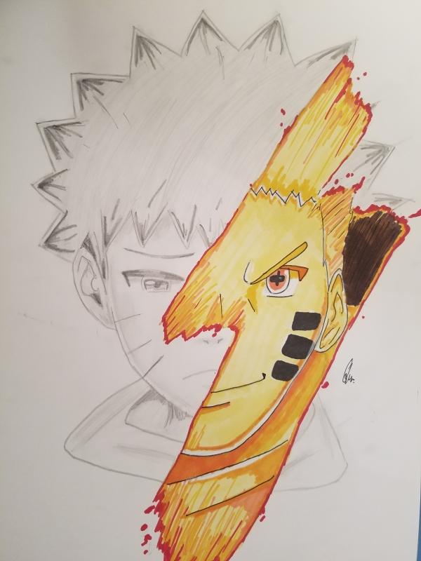 Dessin Naruto Manga Kyubi Uzumaki Personnages Crayon Naruto