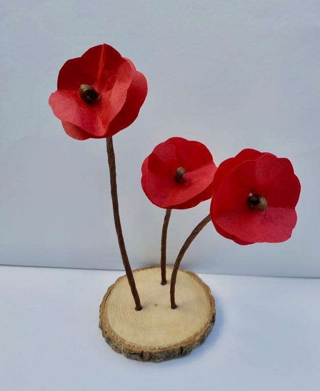 DéCO, DESIGN Coquelicot Rouge Fleur Nature - Trio de coquelicots