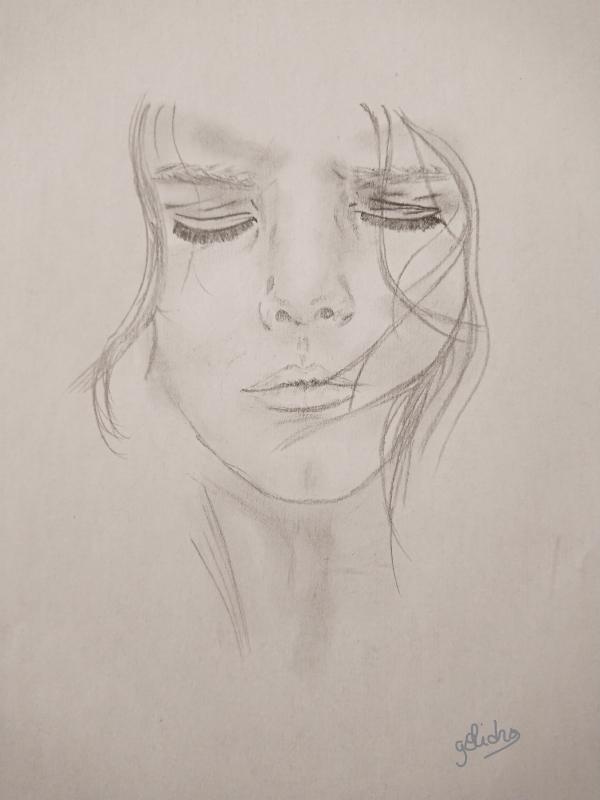 Dessin Visage Femme Crayon