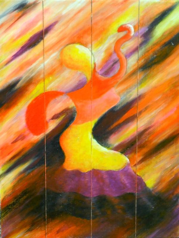 TABLEAU PEINTURE flamenco danse multicolore Espagne - Danseuse de flamenco 1
