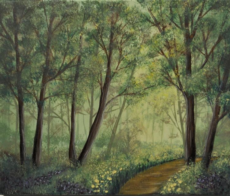 TABLEAU PEINTURE forêt bois brume Bretagne - Brocéliande